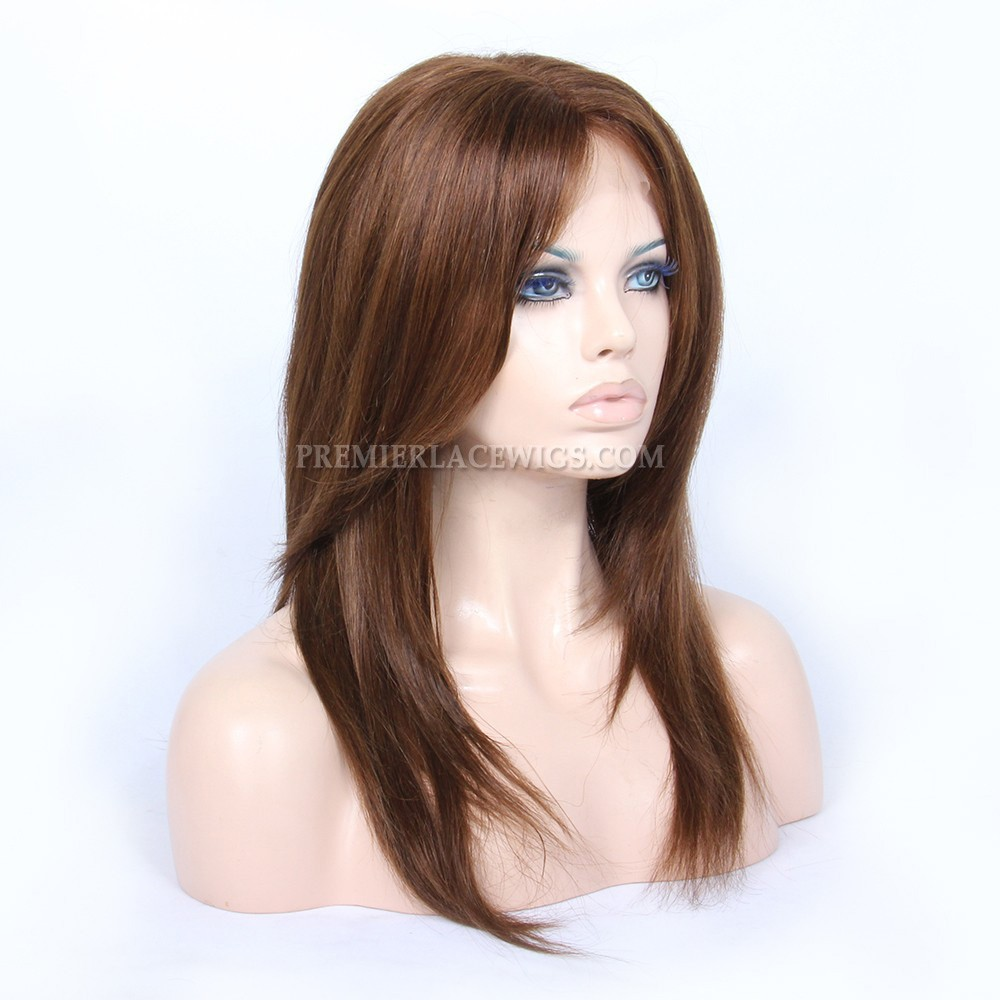 Layered Haircuts Brown Indian Human Hair Full Lace Wigs-Premierlacewigs.com