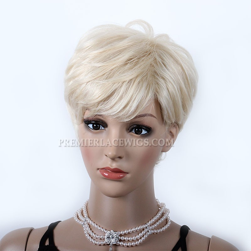 Blonde Human Hair Short Style Affordable Machine Made