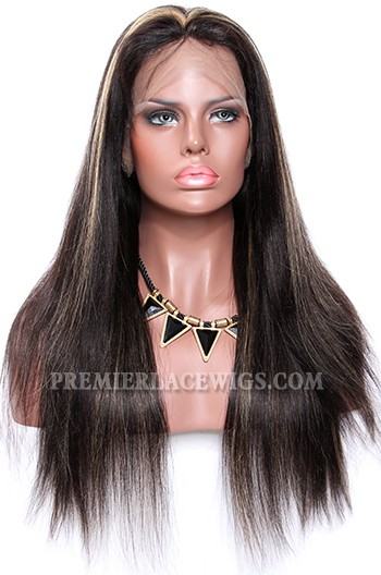 Black Hair Blonde Highlights 1B/27# Full Lace Wigs Indian Remy Hair Light Yaki