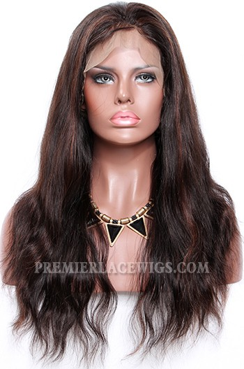 1B/30# Highlights Color Lace Front Wigs Indian Remy Human Hair Natural Straight