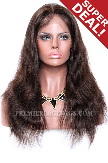 Dark Brown Color 2/4# Highlights Full Lace Wigs Indian Remy Hair Natural Straight