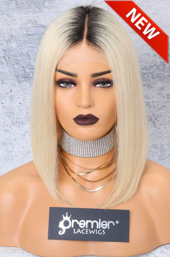 """Blonde Hair Dark Roots Bob Cut,4.5"""" Lace Front Wig,Indian Remy Hair Silky Straight 12"""" 150% Density"""