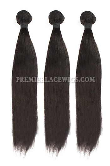 3 Bundles Deal Peruvian Virgin Hair Natural Color Light Yaki Hair Extension