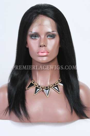 Clearance Glueless Full Lace Wig,Light Yaki,Indian Remy Hair,1# Jet Black,14 inches,120% Density,Small Cap Size,Light Brown Lace
