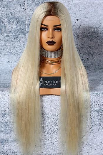 "Platinum Blonde Hair Full Lace Wigs 6""x6"" Silk Top Luxury Virgin Hair Silky Straight"