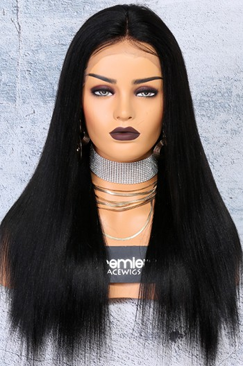 "250% Density 4.5"" Lace Front Wigs Indian Remy Hair Yaki Straight"