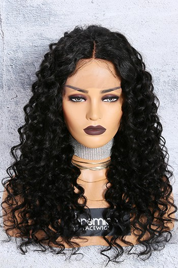 Chloe- 13x3 Lace Frontal Wig 1B# 18 inches,150% Density Curly Style Middle Part Indian Remy Hair, Average Size,Removable Elastic Bands