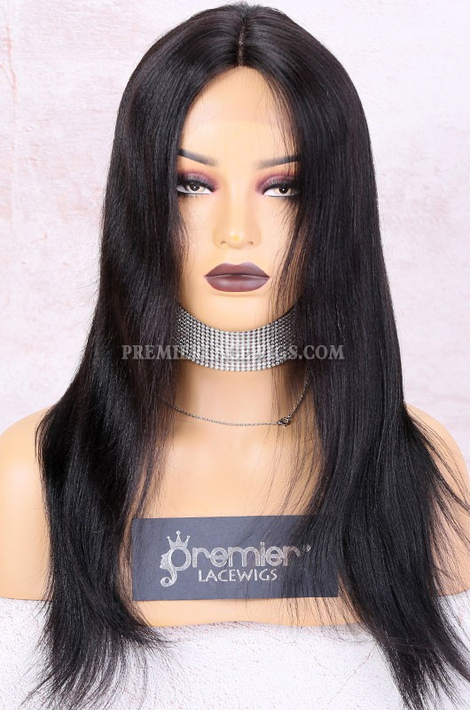 Clearance Lace Part Affordable Wig,Middle Part, Yaki Indian Remy Human Hair Lace Wigs.16inches,1B#,Medium Cap Size.