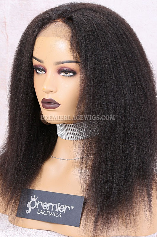 Clearance Lace Front Wig,Natural Color,14 inches,Kinky Straight,Brazilian Virgin Hair,Small Cap Size,120% Density,Advanced Bleached Knots