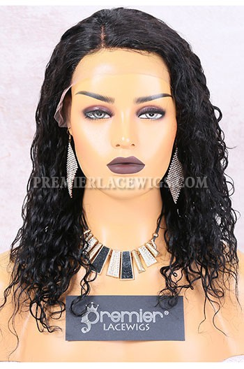 Clearance Lace Part Affordable Wig,1B# Color,Loose Curl,Indian Remy Hair,Medium Cap Size,14inches,130% Density,Right Side Part