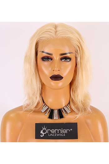 Clearance Lace Front Wig,Indian Remy Hair,Body Wave,Blonde 613#,12 inches,130% Density,Average Size,Transparent Lace