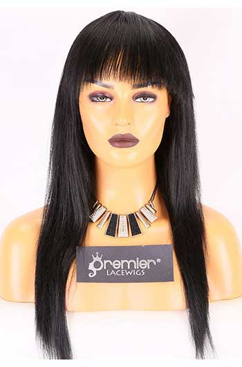 Clearance Natural Straight Full Bangs Wig Indian Remy Hair With Silk Top Hair Whorl,16inches,1#,Medium Cap Size,Medium Brown Lace