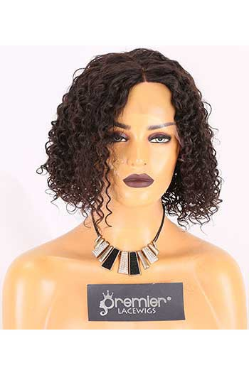 Clearance Lace Front Wig,Indian Remy Hair,Tight Curl,Natural Color,10 inches,130% Density,Average Size, Medium Brown Lace