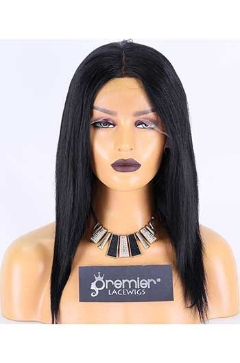 Clearance Lace Front Wig,Indian Remy Hair,Silky Straight,1#,14 inches,130% Density,Average Size, Medium Brown Lace