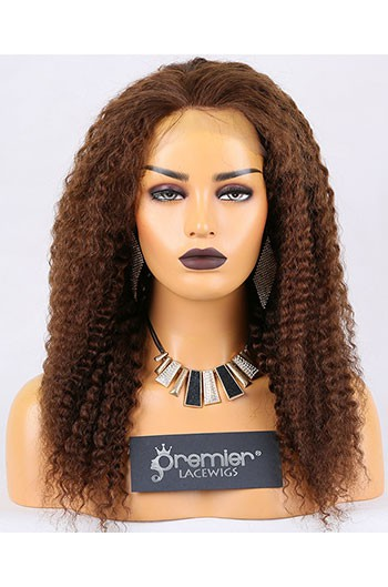 Clearance Full Lace Wig,Deep Wave, Chinese Virgin Hair,4# Color,18 inches,120% Normal Density,Large Cap Size,Medium Brown Lace