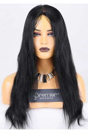Clearance Glueless Full Lace Wig,Natural Straight,Indian Remy Hair,1# Jet Black,18 inches,120% Normal Density,Medium Cap Size,Light Brown Lace