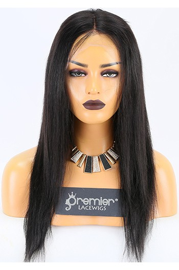 Clearance 4.5'' Lace Front Wig,Natural Straight,1B#,16 inches,130% Density,Average Size, Medium Brown Lace