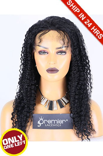 Super Deal 18 inches Lace Front Wig Kinky Curl Indian Remy Hair, 1#,Average Size,130% Normal Density,Medium Brown Lace