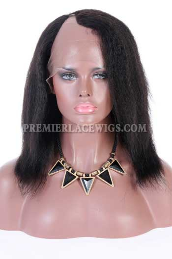 Clearance U-part Wig,1B# Color,10 inches,Kinky Straight,Indian Remy Hair,Small Cap Size,150% Density,Right Part