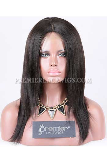 Clearance Silk Top Full Lace Wig,Yaki Straight,Malaysian Virgin Hair,Natural Color,12 inches,180% Thick Density,Medium Cap Size,Medium Brown Silk