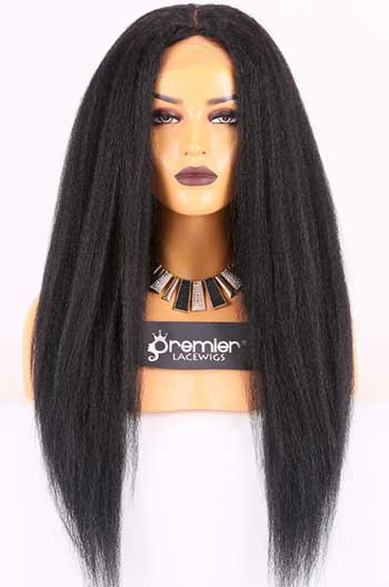Clearance Silk Top Lace Front Wig,Kinky Straight,Brazilian Virgin Hair,1B#,22 inches,120% Density,Average Size, Medium Brown Lace
