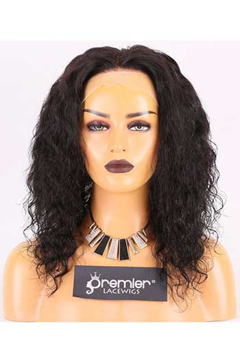 Clearance Full Lace Wig,Brazilian Virgin Hair,Big Curls,1B#,12 inches,120% Normal Density,Small Size,Light Brown Lace