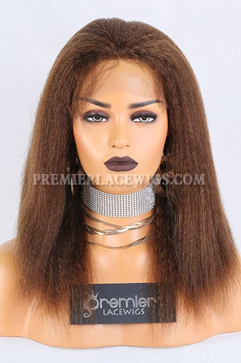 Clearance Full Lace Wig,Kinky Straight,Indian Remy Hair,4#,14 inches,120% Density,Small Cap Size,Light Brown Lace