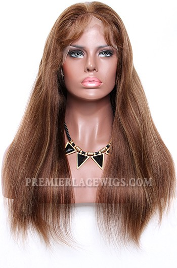 Brown Hair Blonde Highlights 4/27# Color Full Lace Wigs Light Yaki Indian Remy Human Hair