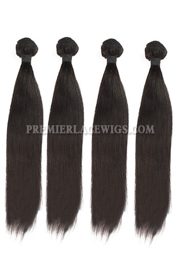 Peruvian Virgin Hair Light Yaki Hair Extension 4Bundles Deal