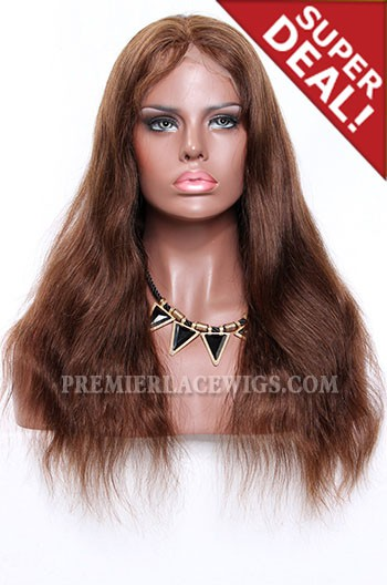 Brown Blending Color 3/4# Full Lace Wigs Indian Remy Hair Natural Straight