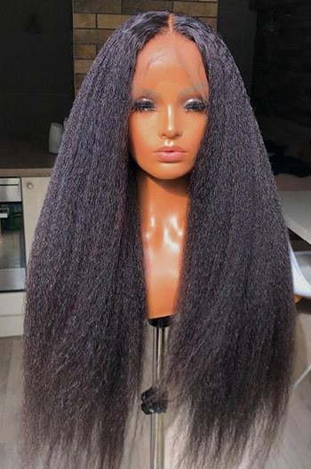 2# dark brown hair kinky straight