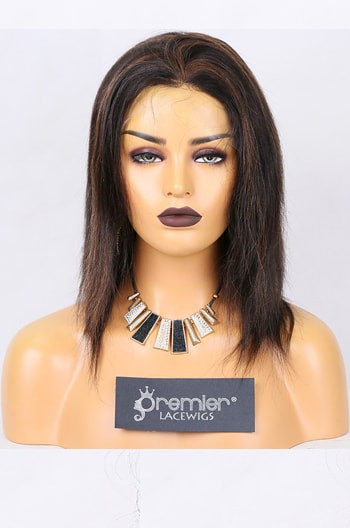 Clearance Full Lace Wig,Indian Remy Hair Light Yaki,1B/30# 12 inches,120% Normal Density,Medium Size,Medium Brown Lace
