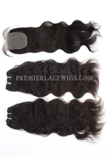 A Silk Base Closure with 2 Bundles Deal Brazilian Virgin Hair Weave Natural Straight