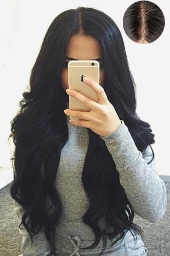 "Gorgeous Wavy 4.5"" Super Deep Middle Part Human Hair Lace Front Wigs"