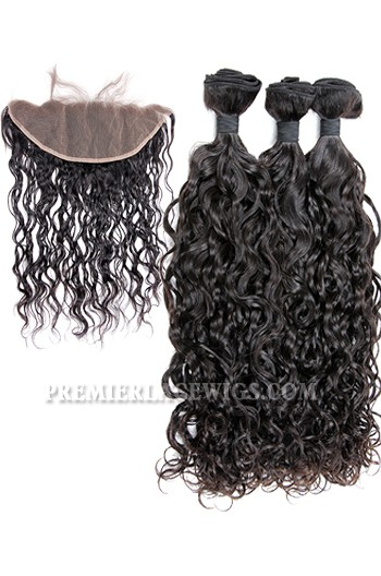 Indian Virgin Hair Loose Curl A Lace Frontal With 3 Bundles Deal