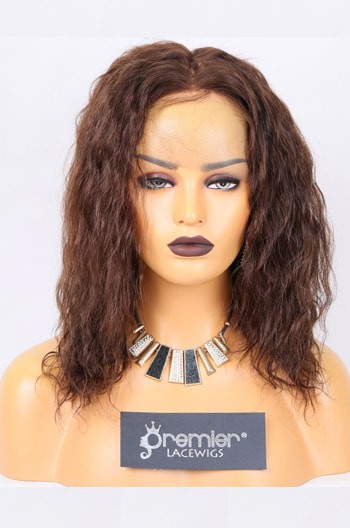 Clearance Full Lace Wig,Indian Remy Hair Wavy,3# 12 inches,120% Normal Density,Medium Size,Light Brown Lace