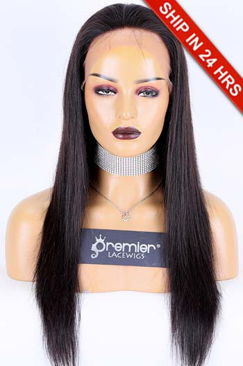 20 inches Silky Straight Lace Front Wig, Brazilian Virgin Human Hair Natural Color 180% , Average Size