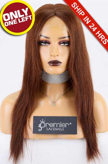 Super Deal Silk Top Full Lace Wig,Indian Remy Hair 4#,16 inches Yaki Straight 150% Thick Density, Medium Size,Light Brown Lace.