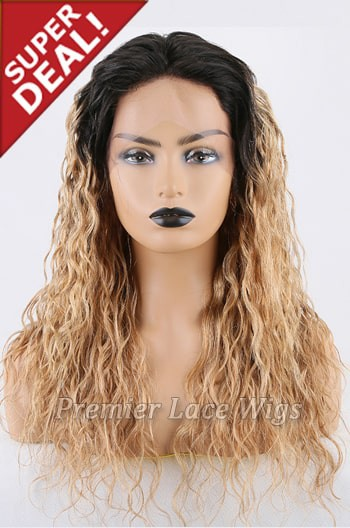 Super Deal 18 inches Lace Front Wig Curly Blonde Hair