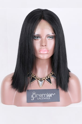 Clearance Full Lace Wig, Bob Cut Yaki Straight,1# 14 inches,120% Normal Density,Medium Size,Medium Brown Lace