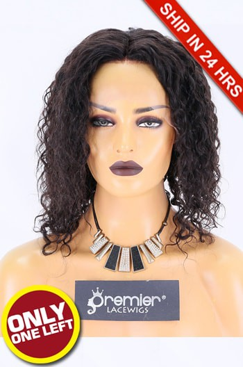 Super Deal 12 inches Lace Front Wig Curly Indian Remy Hair, Natural Color, Average Size, 150% Thick Density,Medium Brown Lace