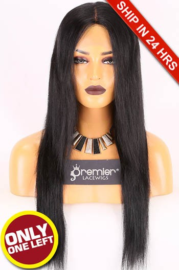 Super Deal 24 inches,1#, Lace Front Wig Silky Straight Indian Remy Hair,Average Size,150% Normal Density