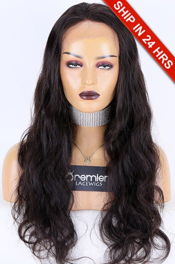 Glueless Lace Front Wig Body Wave Brazilian Virgin Hair 24 inches,Natural Color,130% Density,Average Size