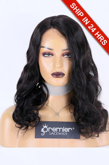 Glueless Lace Front Wig Wavy,Indian Remy Hair 18inches,1B#,130% Density,Average Size