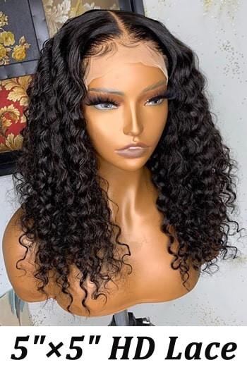 "5""x5"" HD Lace Closure Wig, Deep Curly"