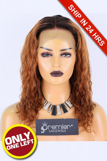 Super Deal 360 Lace Wig, Brown Color Yaki Curls Brazilian Virgin Hair 14 inches,180% Thick Density, Average Size [Pre-bleached Knots,Pre-plucked Hairline,Removable elastic band]