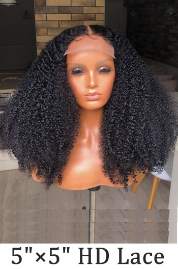 "5""x5"" HD Lace Closure Wig, Kinky Curly"