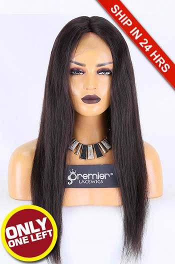 Glueless Lace Front Wig,Brazilian Virgin Hair,Silky Straight,Natural Color,20 inches,130% Density,Average Size, Medium Brown Lace