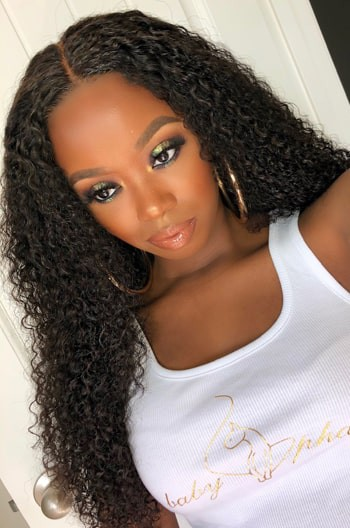 Kinky Curl 360 Lace Wig,22 inches, natural color,180% density