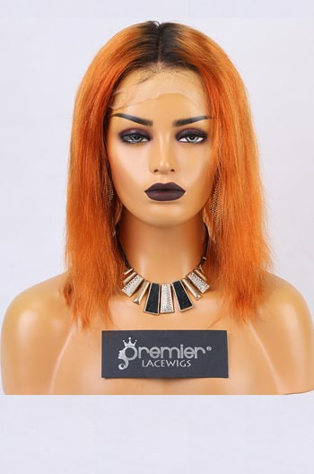Clearance Lace Front Wig,Orange Hair Dark Roots